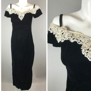 90s Black Velvet Prom Dress Gown Off Shoulder 7